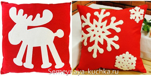 красные новогодние подушки