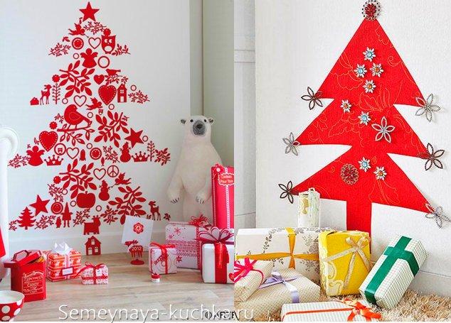 красная елка на стене