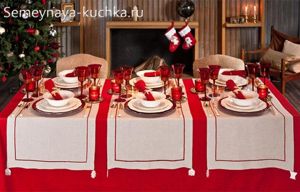 как украсить стол на красный новый год