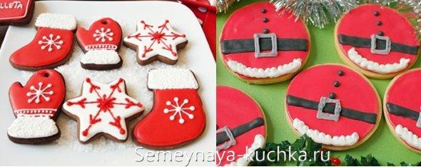 новогоднее печенье в красном стиле