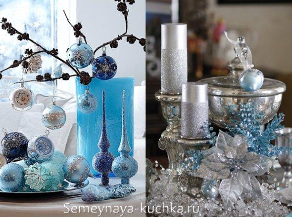 новогоднее оформление синий с голубым