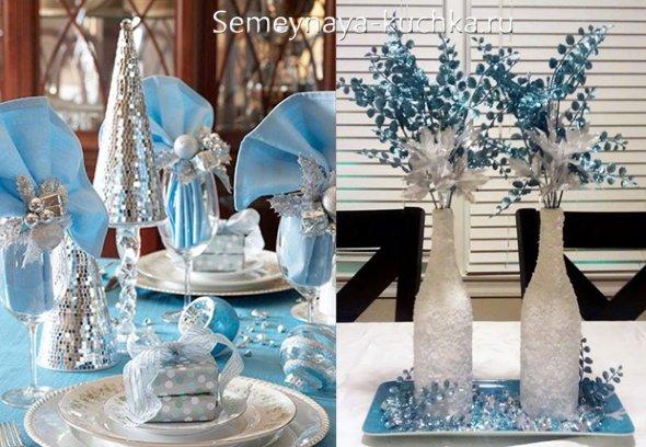 новогоднее оформление голубой с белым