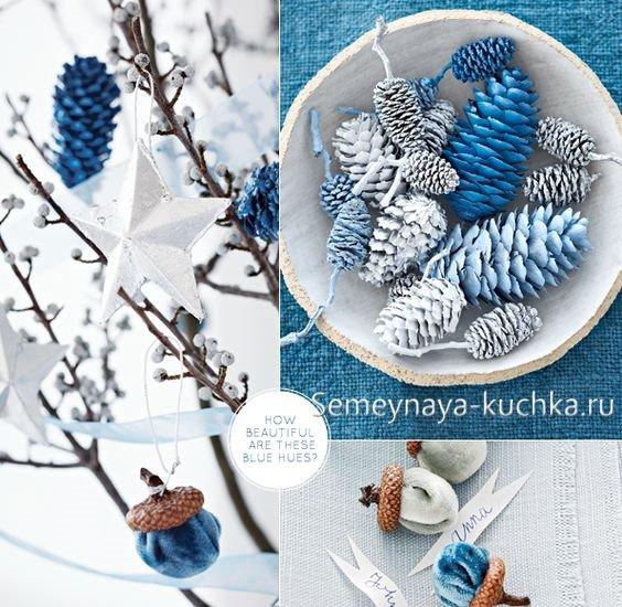 новогоднее оформление белый синий серебро
