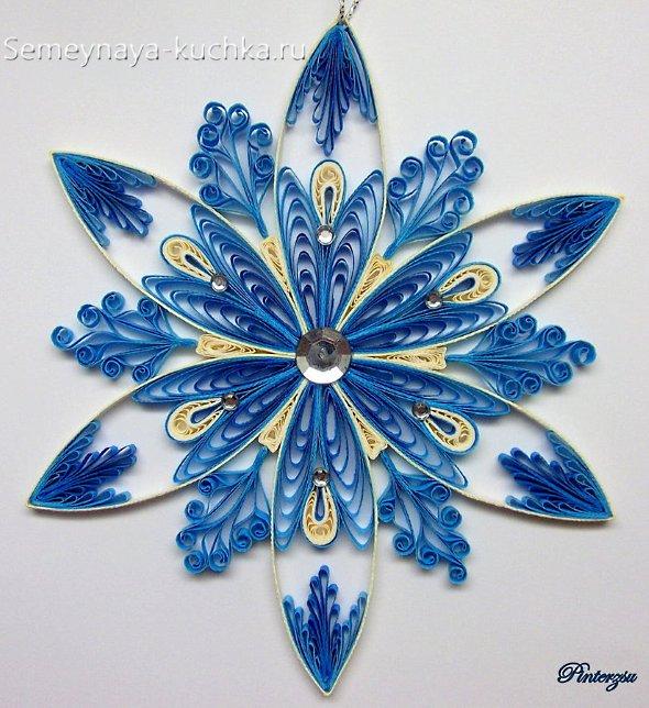 синий новый год снежинка