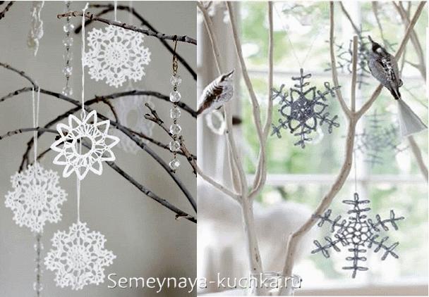 снежинка крючком для елки