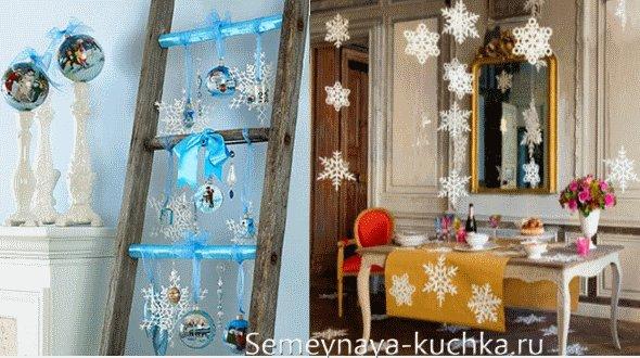 вязаные снежинки для украшения нового года