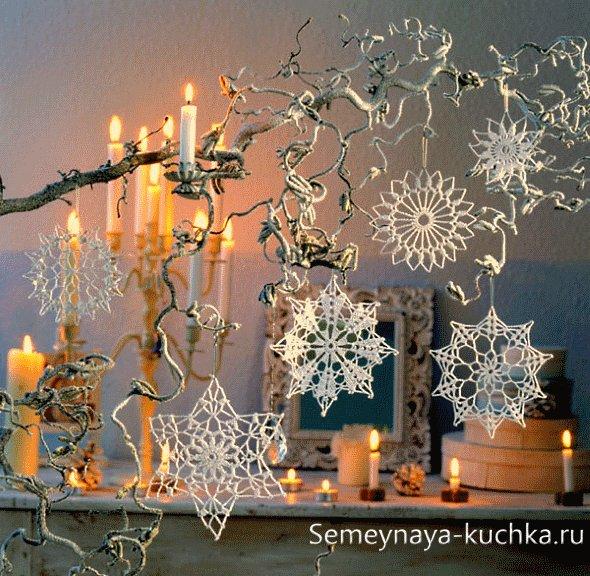 новогодние украшения снежинки салфетки крючком