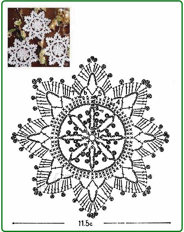 схема вязаной снежинки