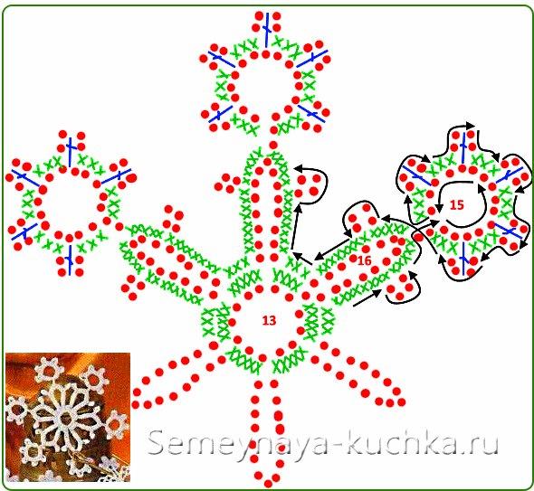 схема новогодней снежинки