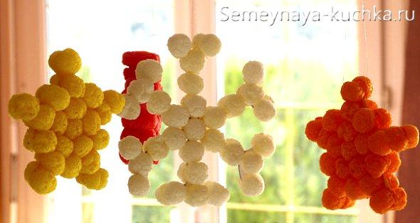 снежинка из шариков детская поделка