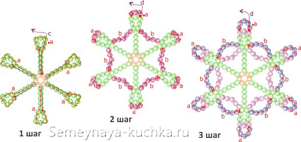 схема плетения снежинки бисер
