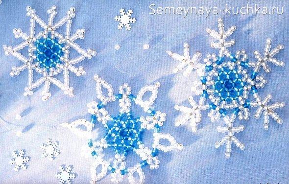снежинка из бисера как сплести