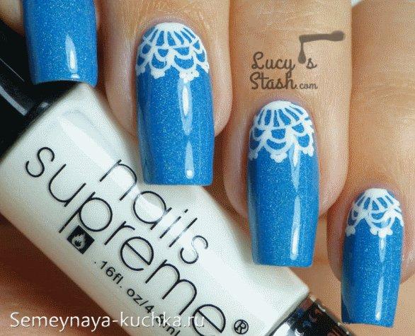 сиеие ногти с кружевом зима