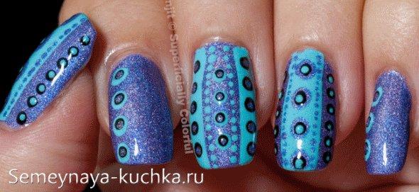 ногти зима дизайн синий