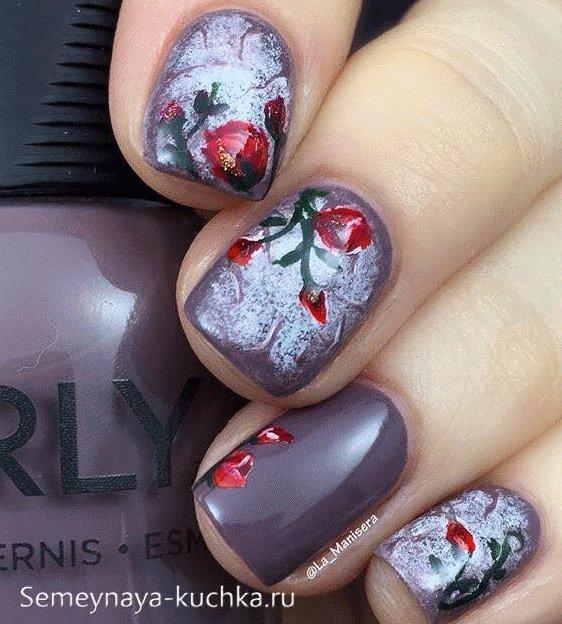 зимние ногти розы