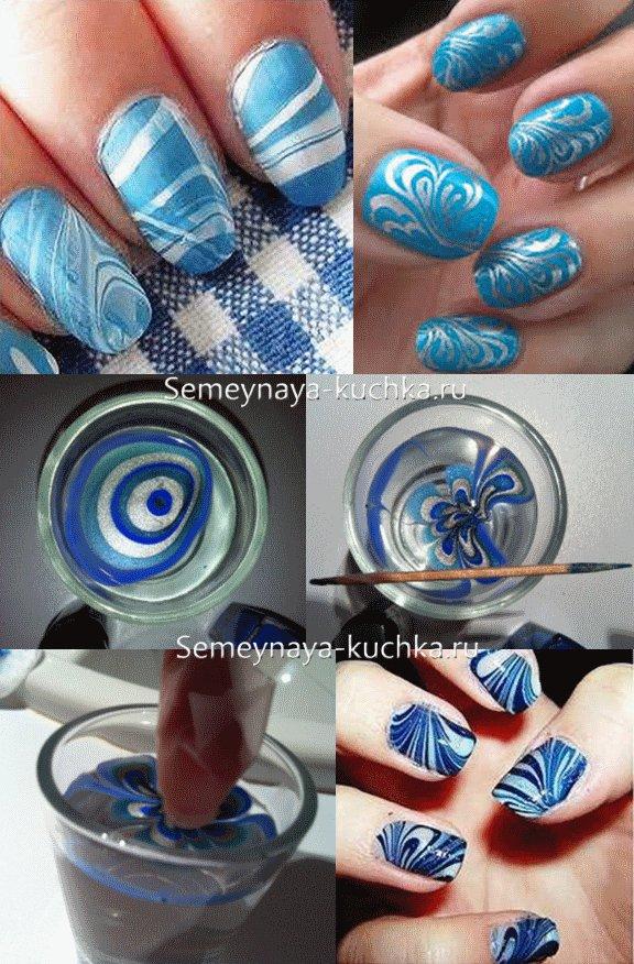 водный маникюр на ногтях синий