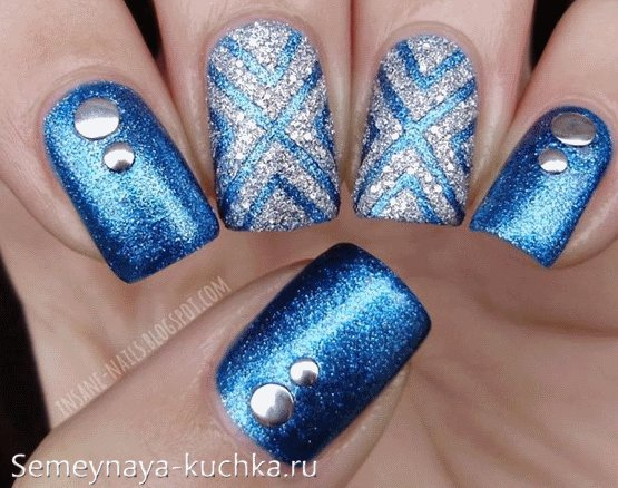 рисунок с лентами ногти зима