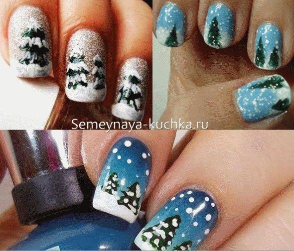деревья на ногтях