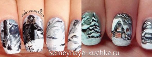 зимние деревья на ногтях