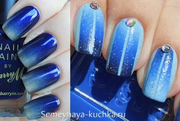 градиентый дизайн ногтей зима