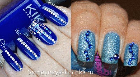 синие ногти и стразы зимний дизайн