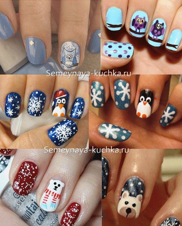 дизайн ногтей зимний с животными