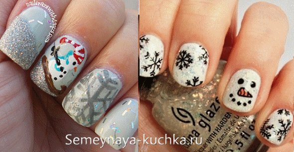 дизайн ногтей снежинка