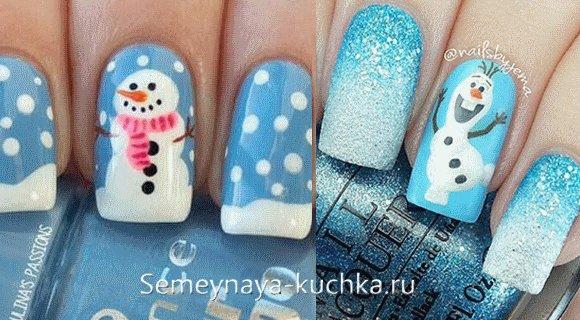 снеговик на ногтях маникюр