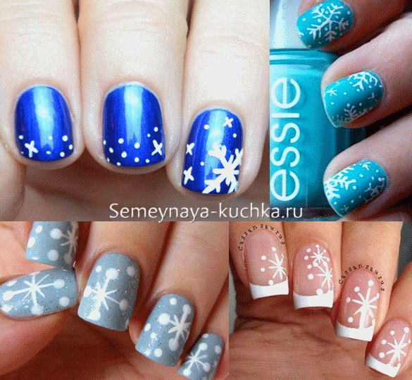 зима дизайн ногтей снежинка