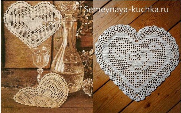 филейное вязаное сердце