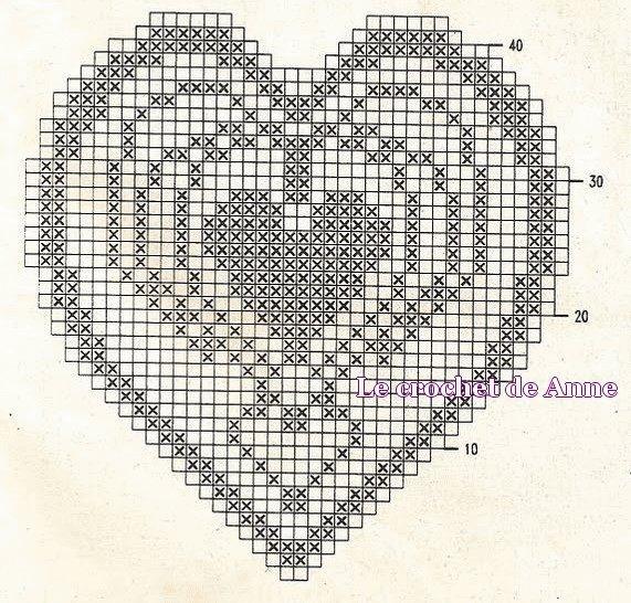 схема филейного сердечка крючком