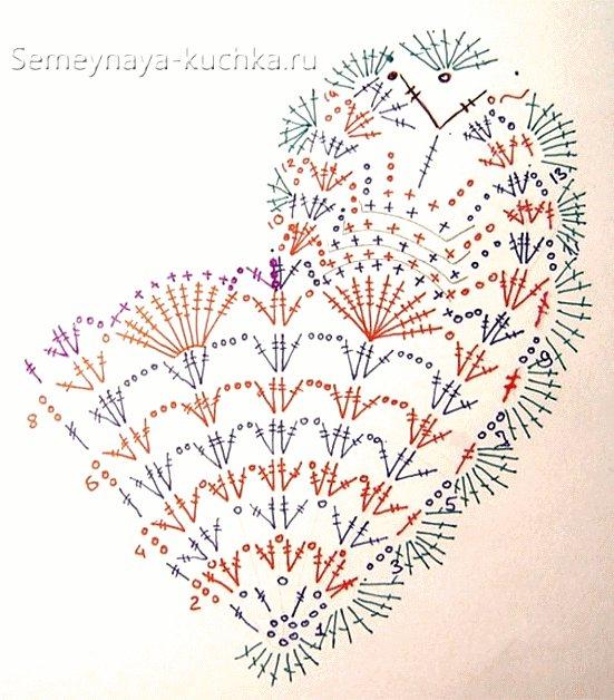 схема валентинки крючком