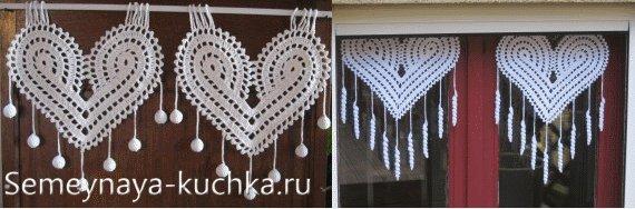 вязаные сердечки на окно