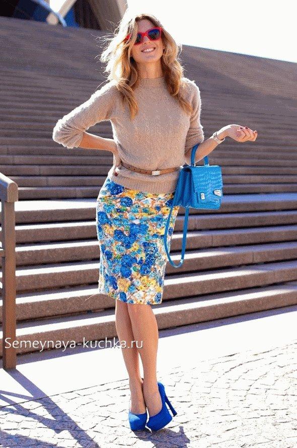 юбка-карандаш со свитером