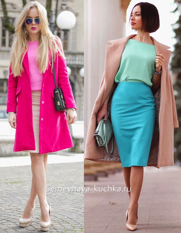 как носить юбку-карандаш с пальто бирюзовую и бежевую