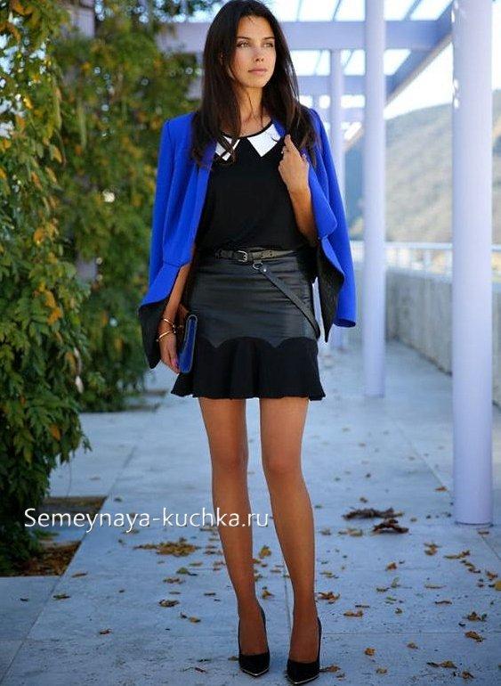 юбка с кожаными вставками