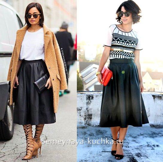 кожаные юбки миди