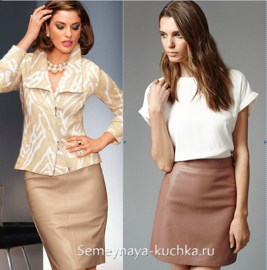 коричневая юбка из кожи
