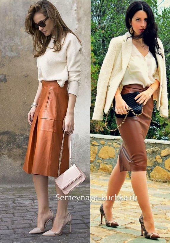 кожаная юбка коричневая