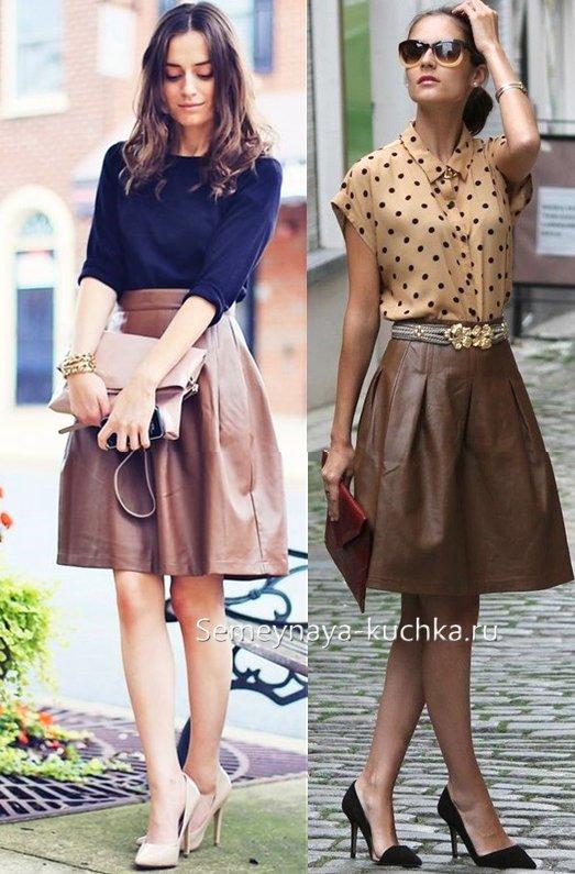 юбка из кожи коричневая
