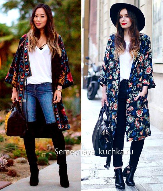пальто кимоно с цветами и узором