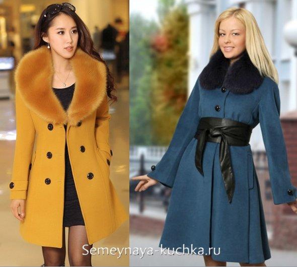 пальто с меховым воротником весеннее
