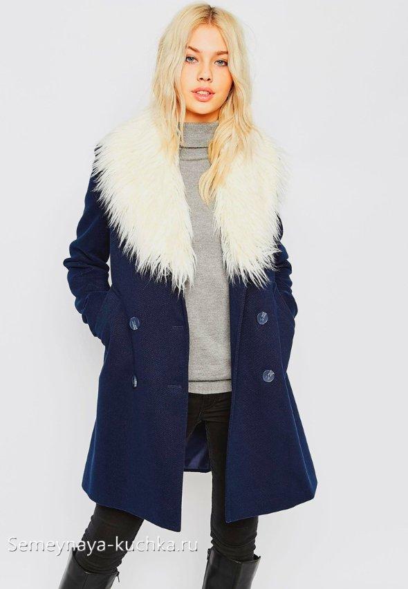 меховой воротник на пальто пиджак