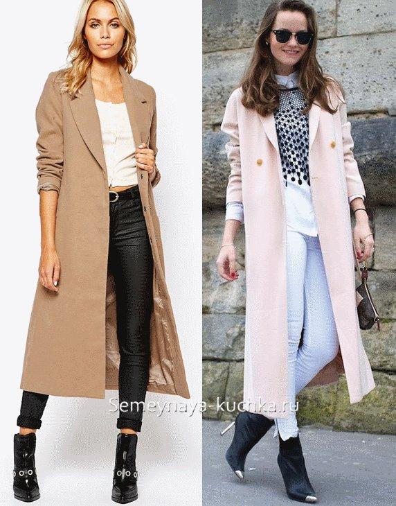 длинное светлое пальто