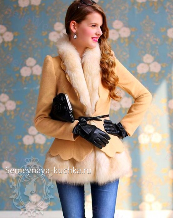весеннее пальто жакет с мехом