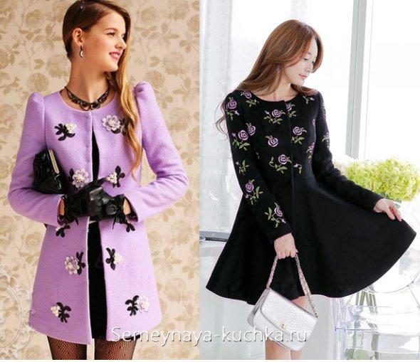 весеннее пальто с вышивкой и цветами