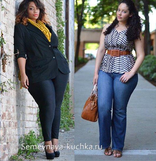 джинсы для полных с туникой