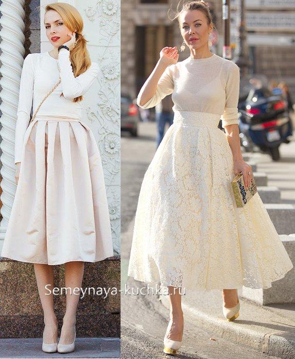 белая деловая юбка