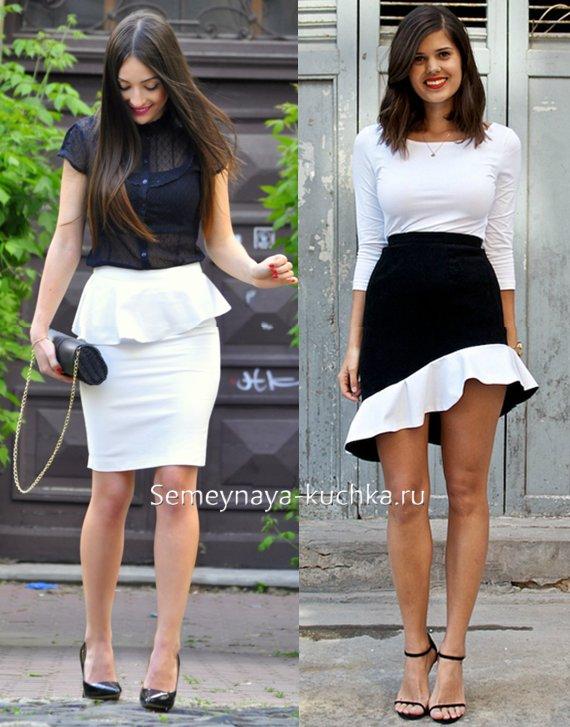 черно-белая юбка для работы