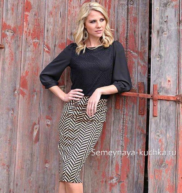 деловая черно-белая юбка